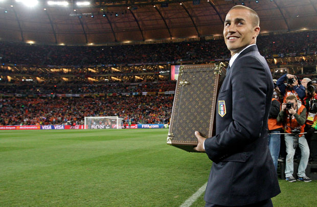 Fabio Cannavaro with the Louis Vuitton case at the 2010 World Cup