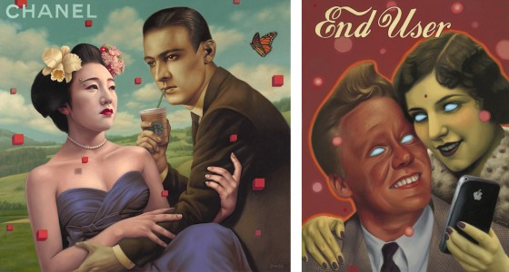 Alex Gross' paintings: Product Placement (2010) and End User (2010)