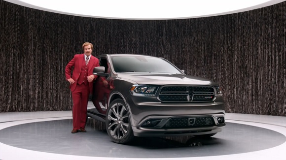 Ron Burgundy in a Dodge Durango ad