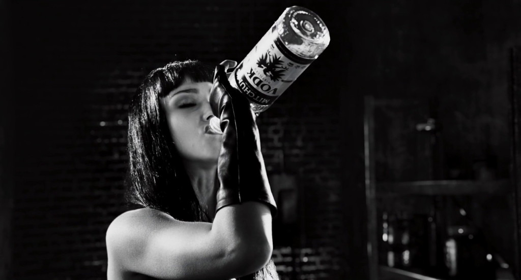 Mitchum's vodka from Sin City: A Dame to Kill For (2014, Dimension Films, screen capture)