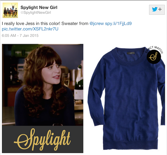 Jess' sweater from J.Crew (Source: Twitter)