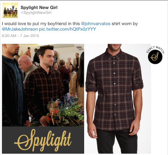 New Girl fashion: Nick's shirt from John Varvatos (Source: Twitter)