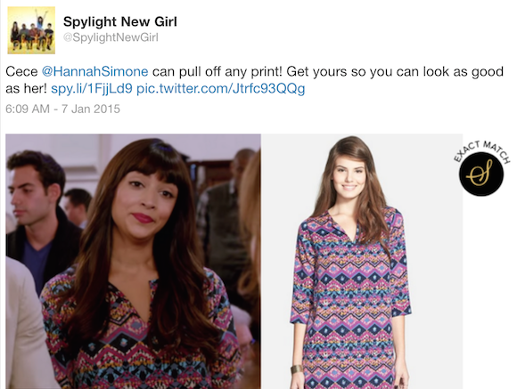 New Girl fashion: Cece's floral dress (Source: Twitter)