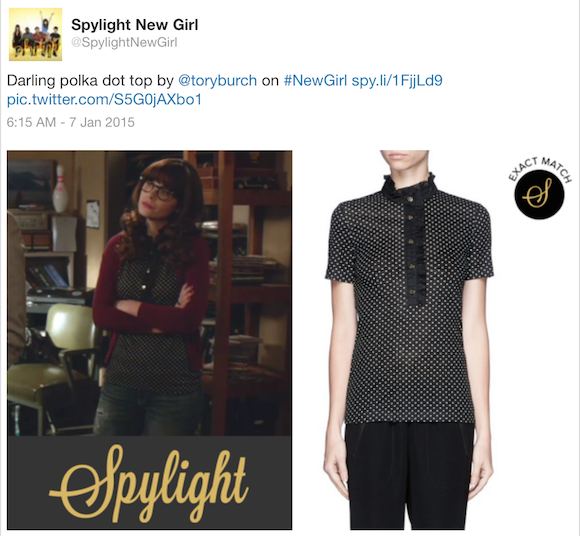 New Girl fashion: Jess' polka dot top by Tory Burch (Source: Twitter)