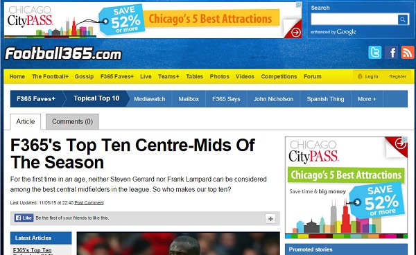 Chicago City Pass remarketing banner ad on Football365.com