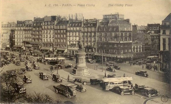 The Cinzano sign in this 1920s photograph of the place de Clichy (Source: The Cine Tourist)