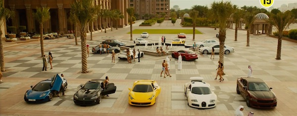 Sports cars in Furious 7 (2015, Universal, screen capture)