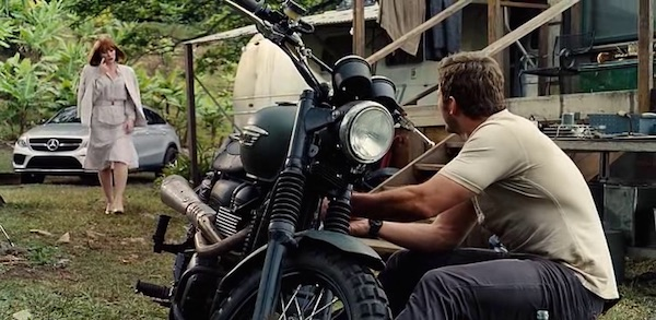 Triumph motorcycle in Jurassic World (2015, Universal, screen capture)
