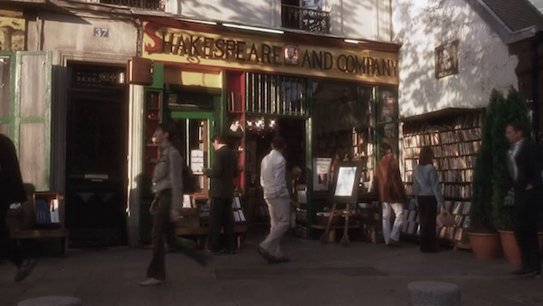 Shakespeare and Company bookstore in Before Sunset (2004, Castle Rock, screen capture)