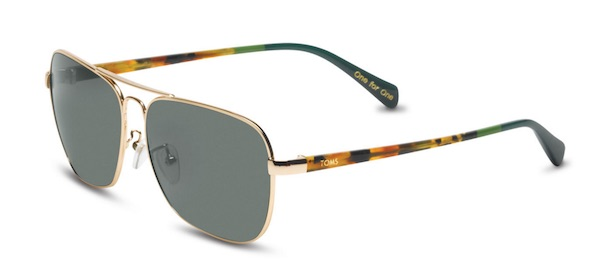 Toms Navigator 201 Shiny Gold and Panama Tortoise pilot sunglasses