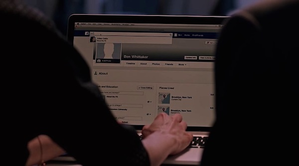 Facebook's product placement in The Intern (2015, Warner Bros., screen capture)
