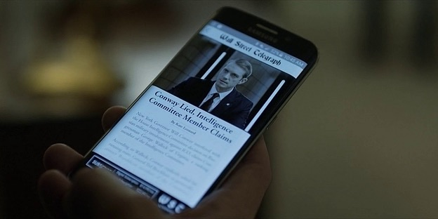Samsung Galaxy S6 Edge from House of Cards season 4 (2016, Netflix, screen capture)